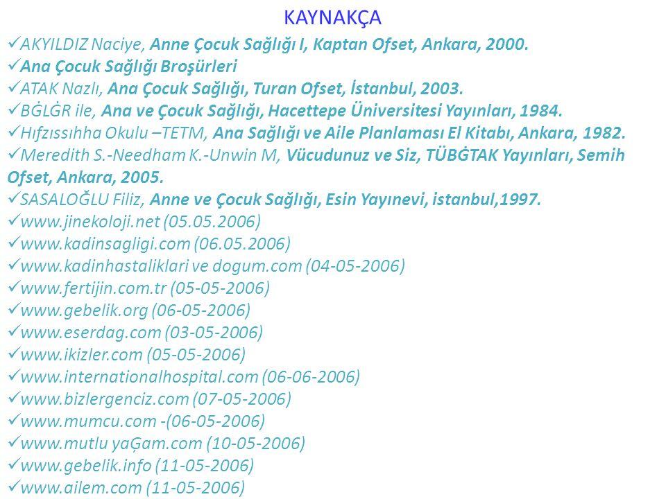 KAYNAKÇA AKYILDIZ Naciye, Anne Çocuk Sağlığı I, Kaptan Ofset, Ankara, 2000. Ana Çocuk Sağlığı Broşürleri.