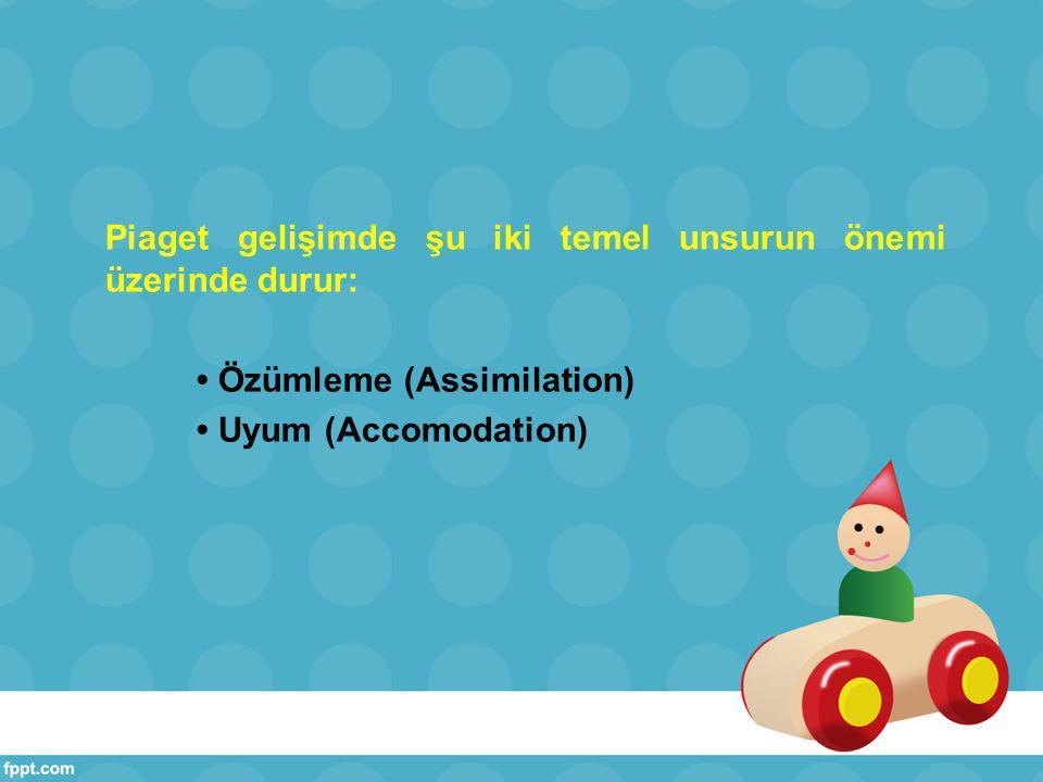 Piaget gelişimde şu iki temel unsurun önemi üzerinde durur: • Özümleme (Assimilation) • Uyum (Accomodation)