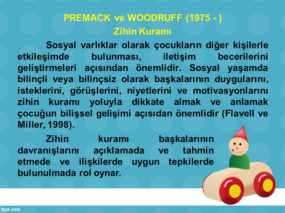 PREMACK ve WOODRUFF (1975 - ) Zihin Kuramı Sosyal varlıklar olarak çocukların diğer kişilerle etkileşimde bulunması, iletişim becerilerini geliştirmeleri açısından önemlidir. Sosyal yaşamda bilinçli veya bilinçsiz olarak başkalarının duygularını, isteklerini, görüşlerini, niyetlerini ve motivasyonlarını zihin kuramı yoluyla dikkate almak ve anlamak çocuğun bilişsel gelişimi açısıdan önemlidir (Flavell ve Miller, 1998).