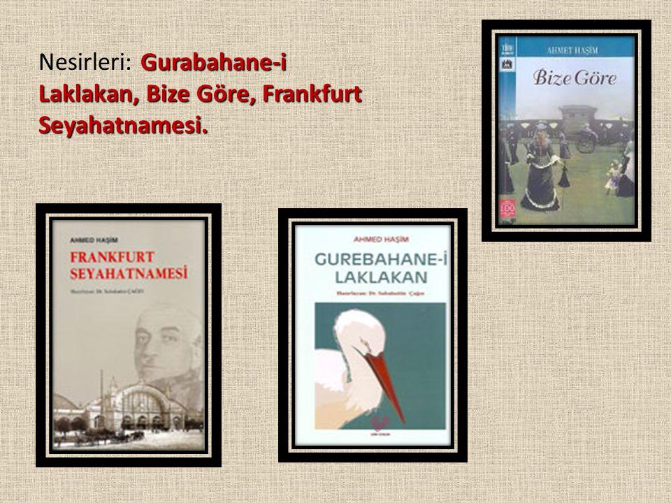 Nesirleri: Gurabahane-i Laklakan, Bize Göre, Frankfurt Seyahatnamesi.