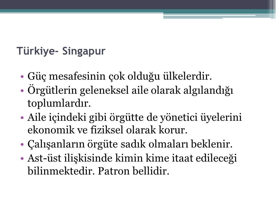 Türkiye- Singapur Güç mesafesinin çok olduğu ülkelerdir. Örgütlerin geleneksel aile olarak algılandığı toplumlardır.