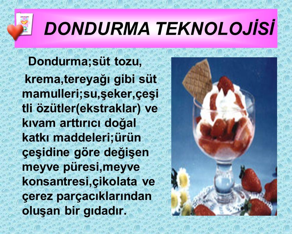 DONDURMA TEKNOLOJİSİ Dondurma;süt tozu,