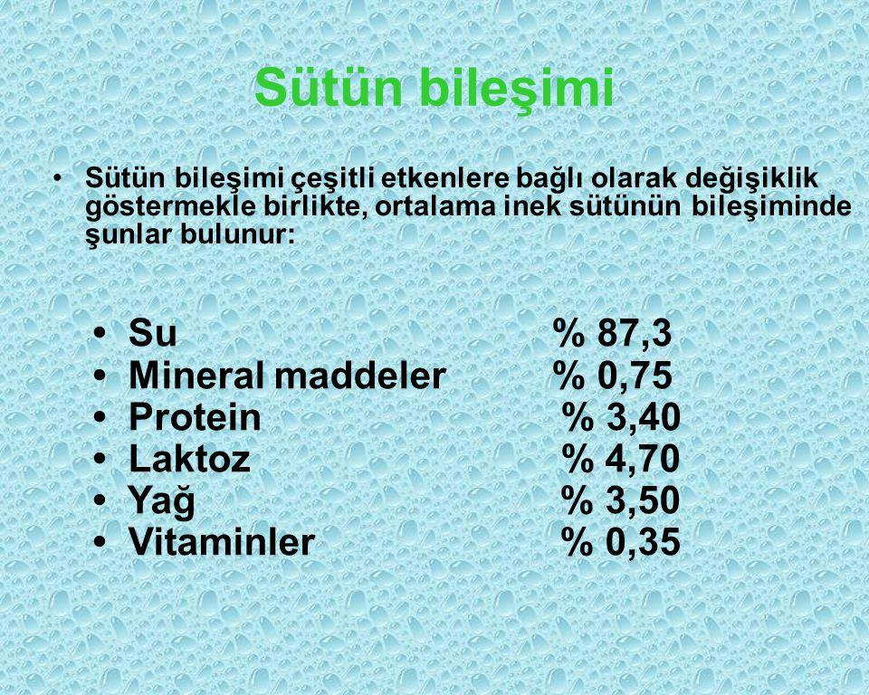 Sütün bileşimi Sütün bileşimi çeşitli etkenlere bağlı olarak değişiklik göstermekle birlikte, ortalama inek sütünün bileşiminde şunlar bulunur: