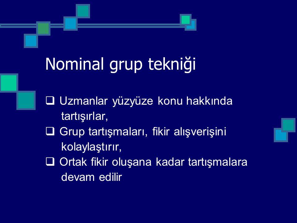 Nominal grup tekniği Uzmanlar yüzyüze konu hakkında tartışırlar,