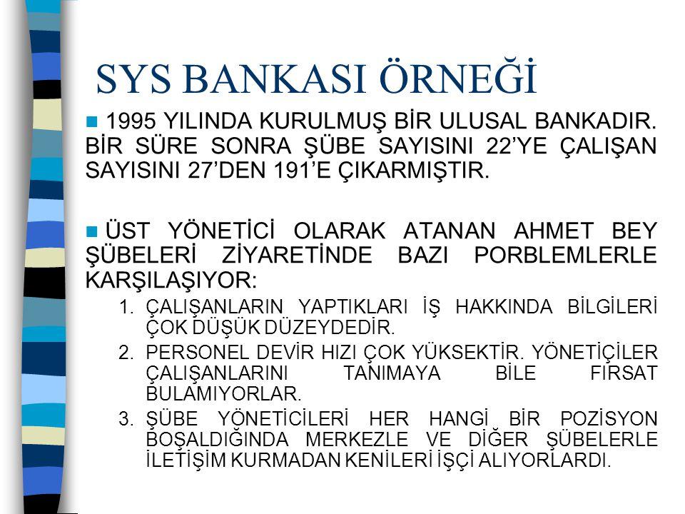 SYS BANKASI ÖRNEĞİ 1995 YILINDA KURULMUŞ BİR ULUSAL BANKADIR. BİR SÜRE SONRA ŞÜBE SAYISINI 22'YE ÇALIŞAN SAYISINI 27'DEN 191'E ÇIKARMIŞTIR.