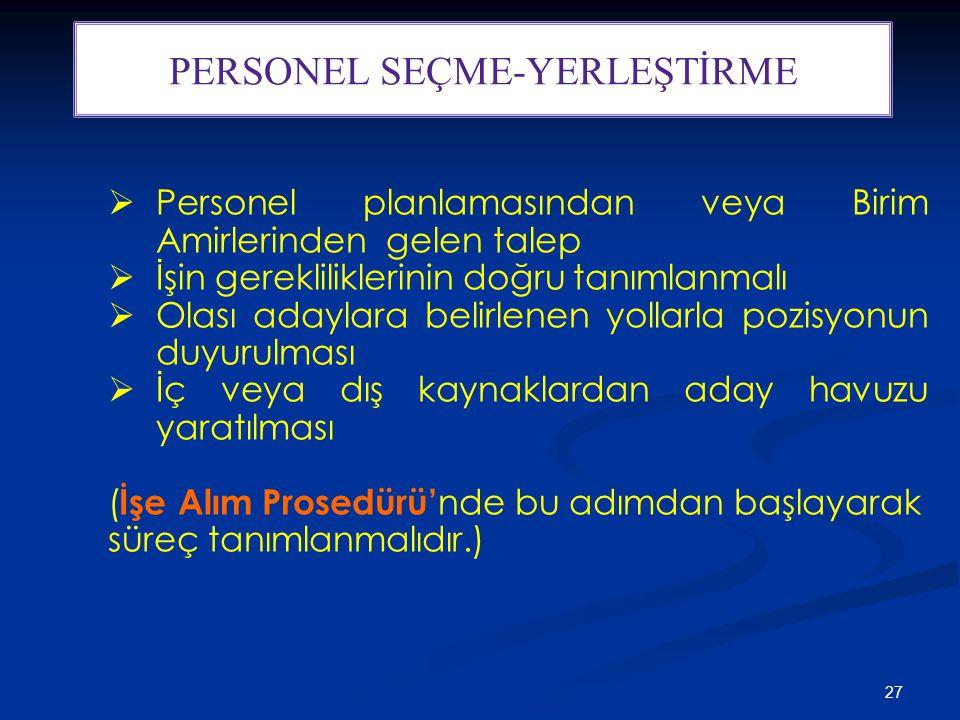 PERSONEL SEÇME-YERLEŞTİRME