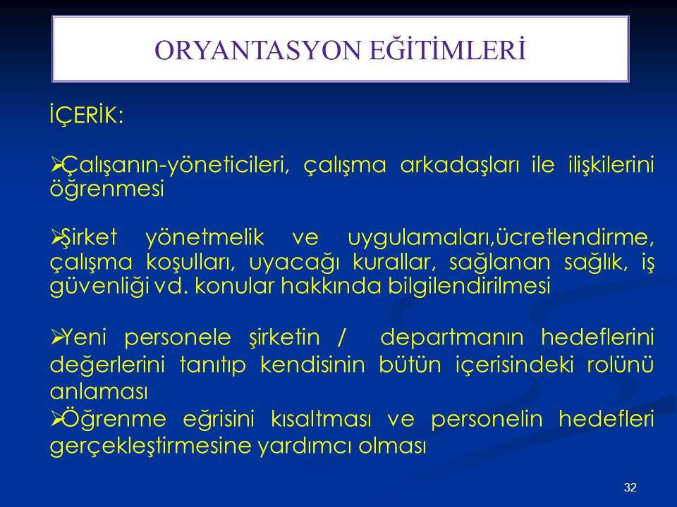ORYANTASYON EĞİTİMLERİ