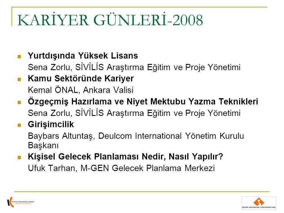 KARİYER GÜNLERİ-2008 Yurtdışında Yüksek Lisans