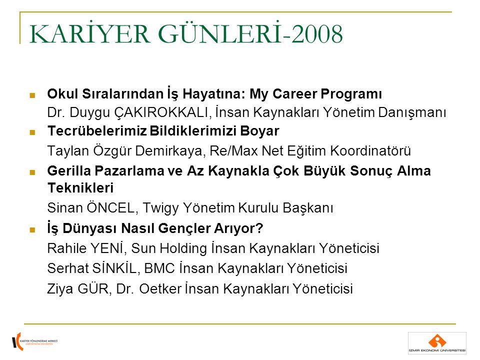 KARİYER GÜNLERİ-2008 Okul Sıralarından İş Hayatına: My Career Programı