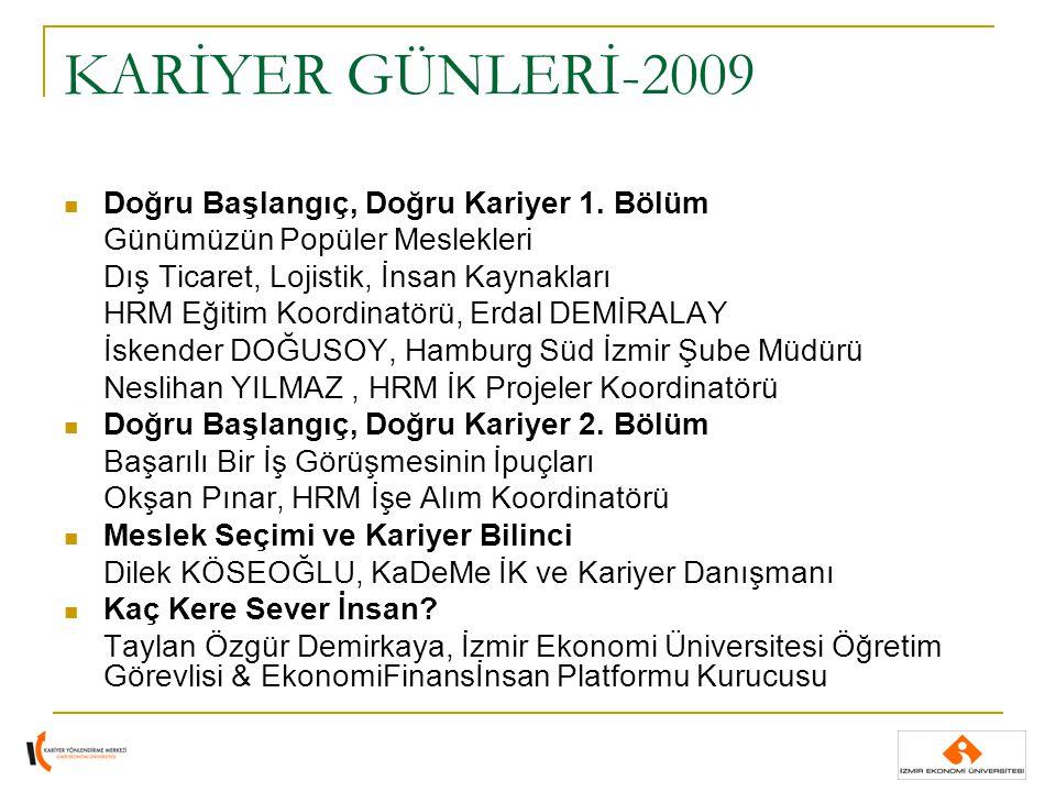 KARİYER GÜNLERİ-2009 Doğru Başlangıç, Doğru Kariyer 1. Bölüm