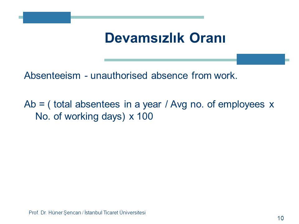 Devamsızlık Oranı Absenteeism - unauthorised absence from work.