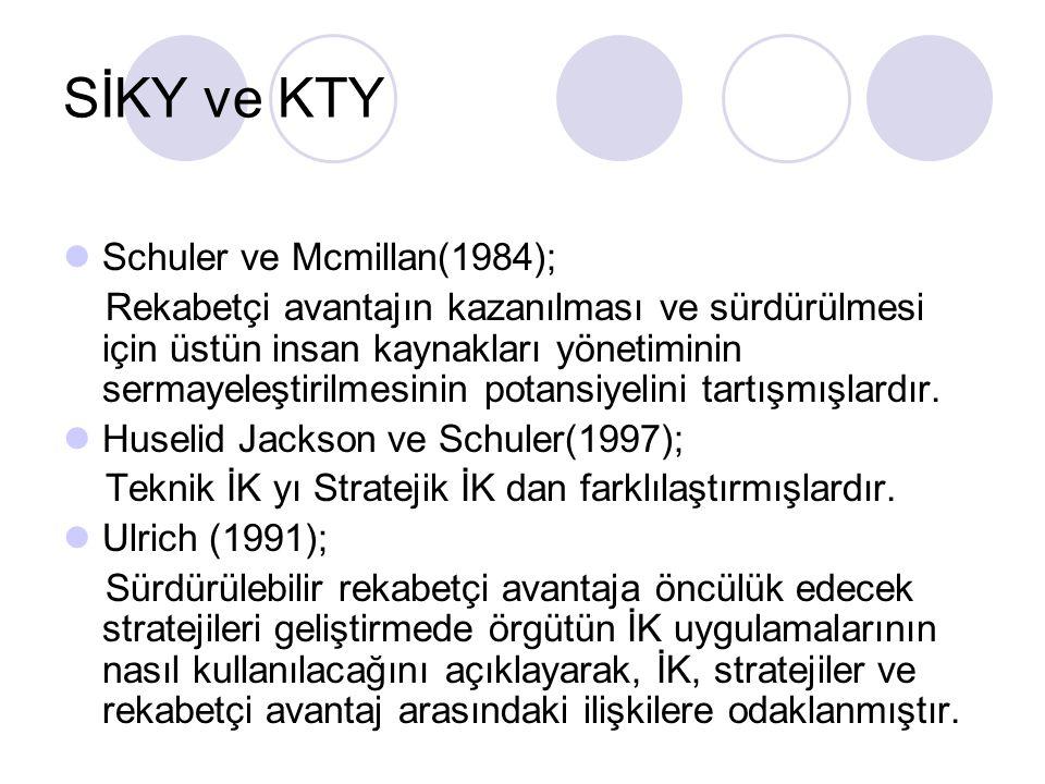 SİKY ve KTY Schuler ve Mcmillan(1984);