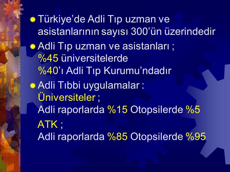 Türkiye'de Adli Tıp uzman ve asistanlarının sayısı 300'ün üzerindedir