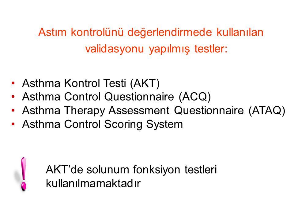 Astım kontrolünü değerlendirmede kullanılan validasyonu yapılmış testler: