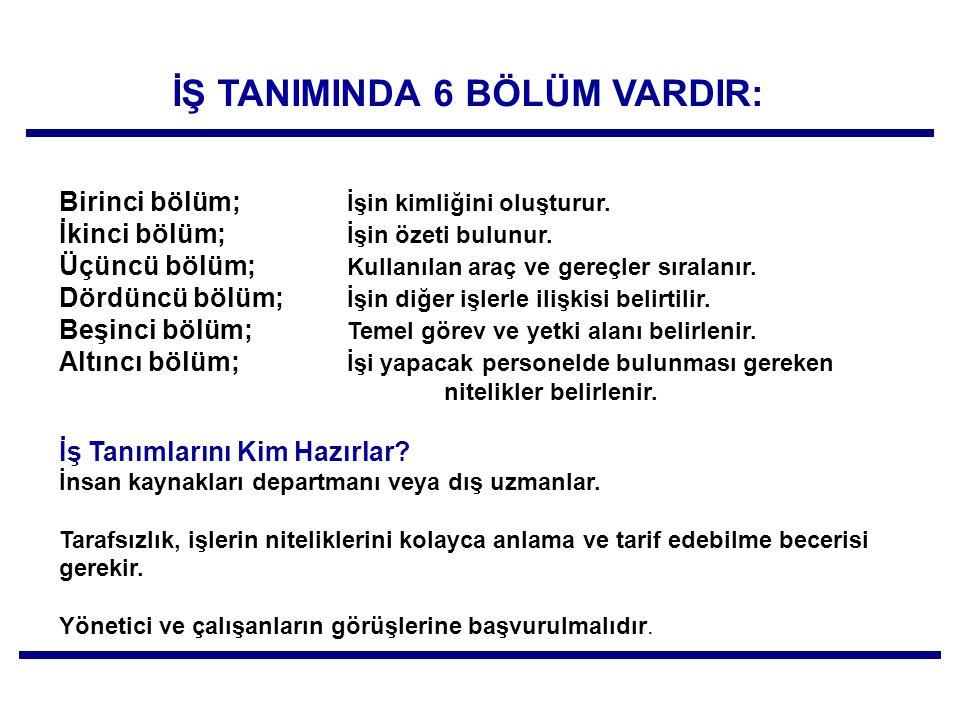 İŞ TANIMINDA 6 BÖLÜM VARDIR: