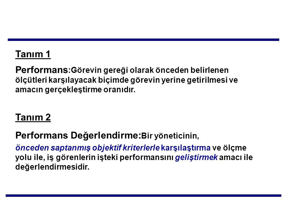 Performans:Görevin gereği olarak önceden belirlenen