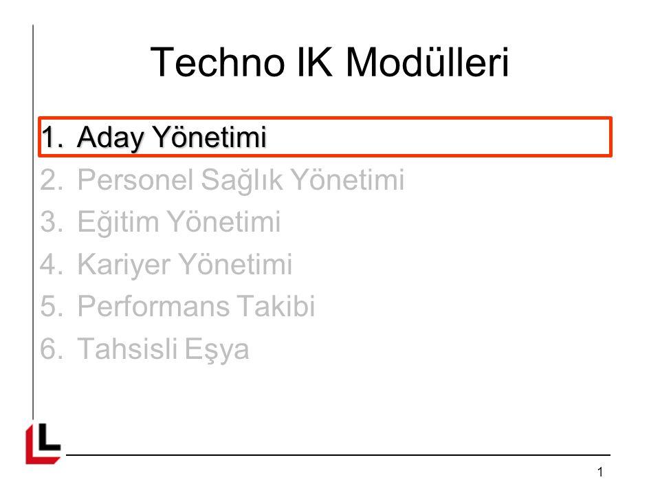 Techno IK Modülleri Aday Yönetimi Personel Sağlık Yönetimi