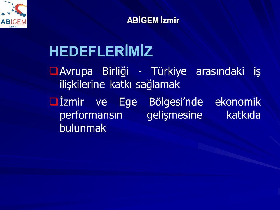 ABİGEM İzmir HEDEFLERİMİZ. Avrupa Birliği - Türkiye arasındaki iş ilişkilerine katkı sağlamak.