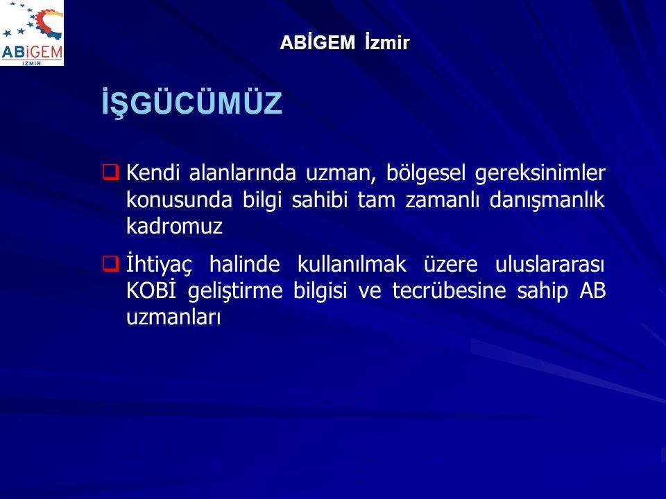 ABİGEM İzmir İŞGÜCÜMÜZ. Kendi alanlarında uzman, bölgesel gereksinimler konusunda bilgi sahibi tam zamanlı danışmanlık kadromuz.