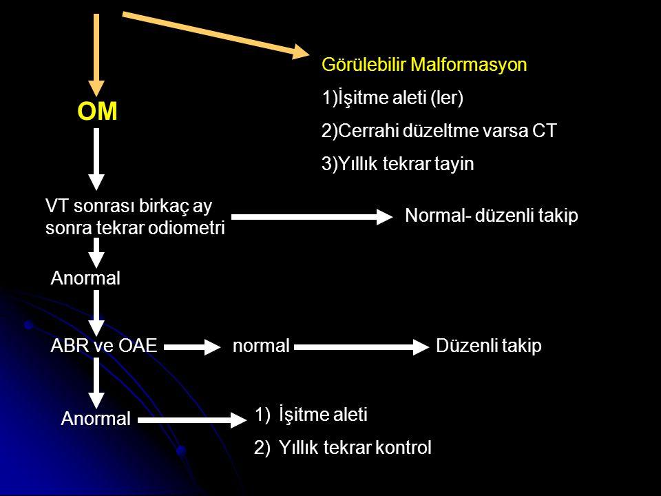 OM Görülebilir Malformasyon 1)İşitme aleti (ler)