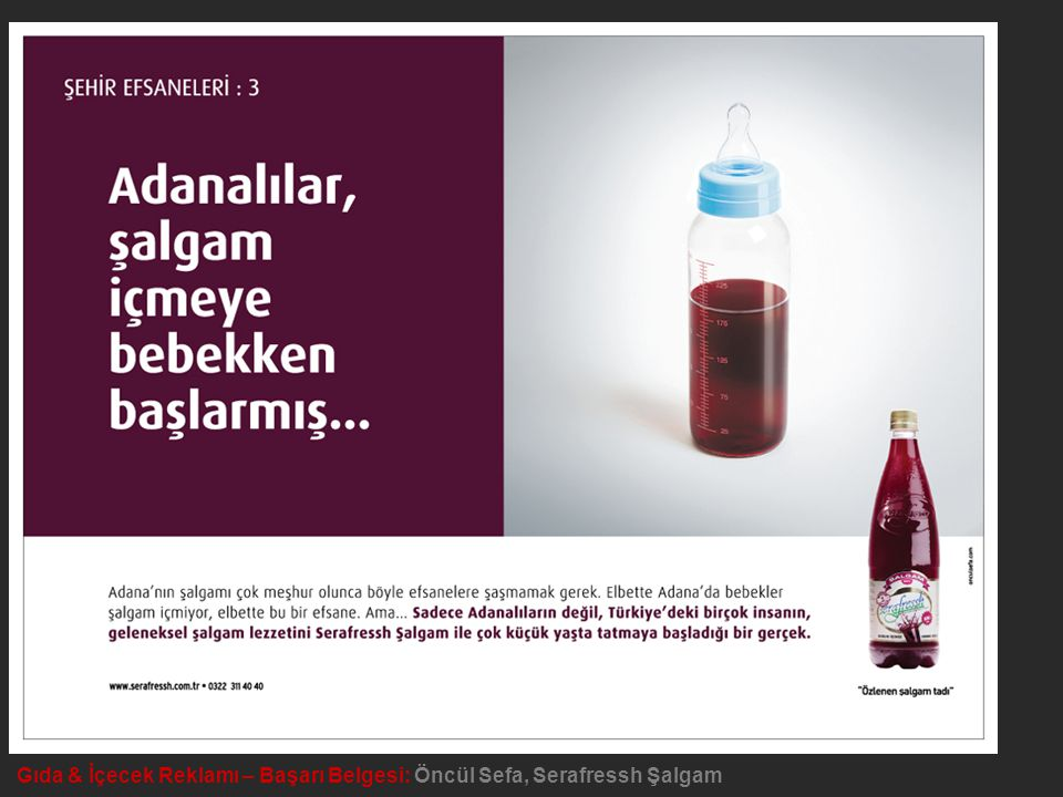 Gıda & İçecek Reklamı – Başarı Belgesi: Öncül Sefa, Serafressh Şalgam