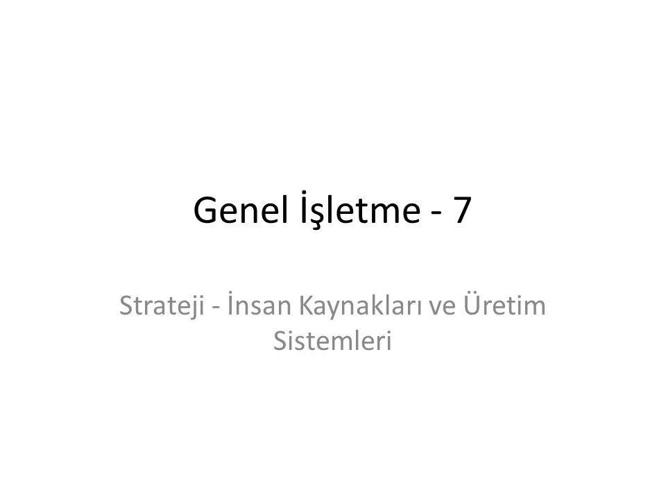 Strateji - İnsan Kaynakları ve Üretim Sistemleri
