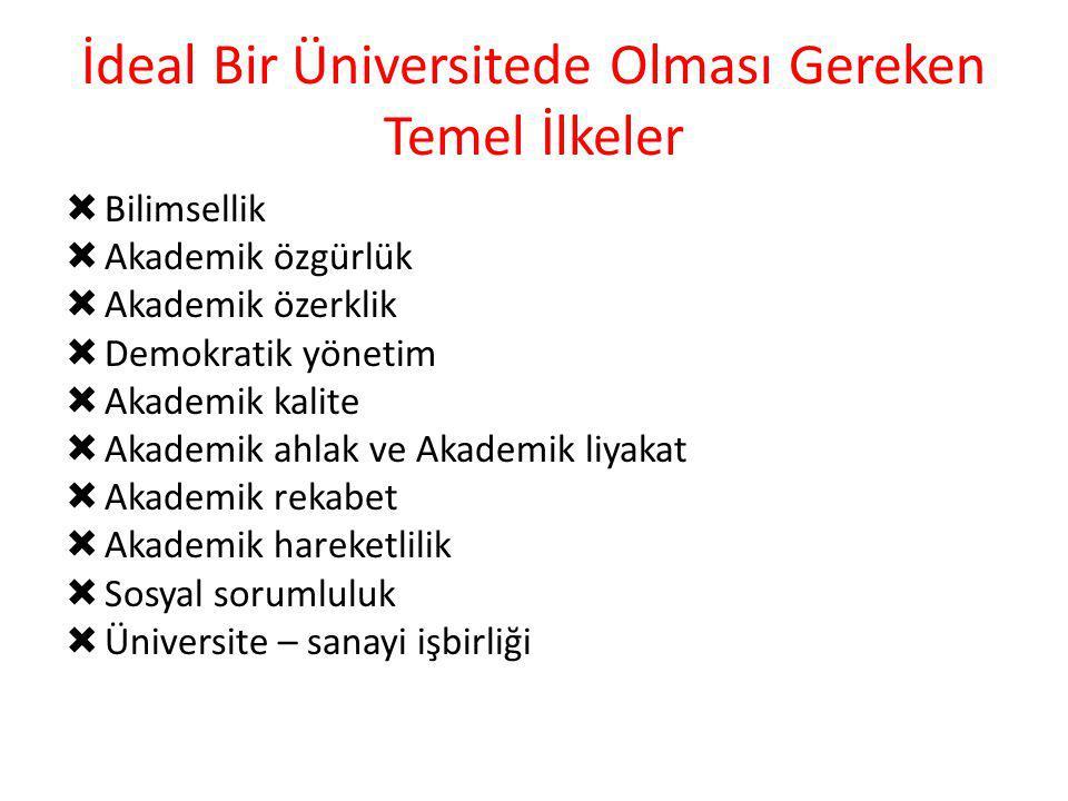 İdeal Bir Üniversitede Olması Gereken Temel İlkeler