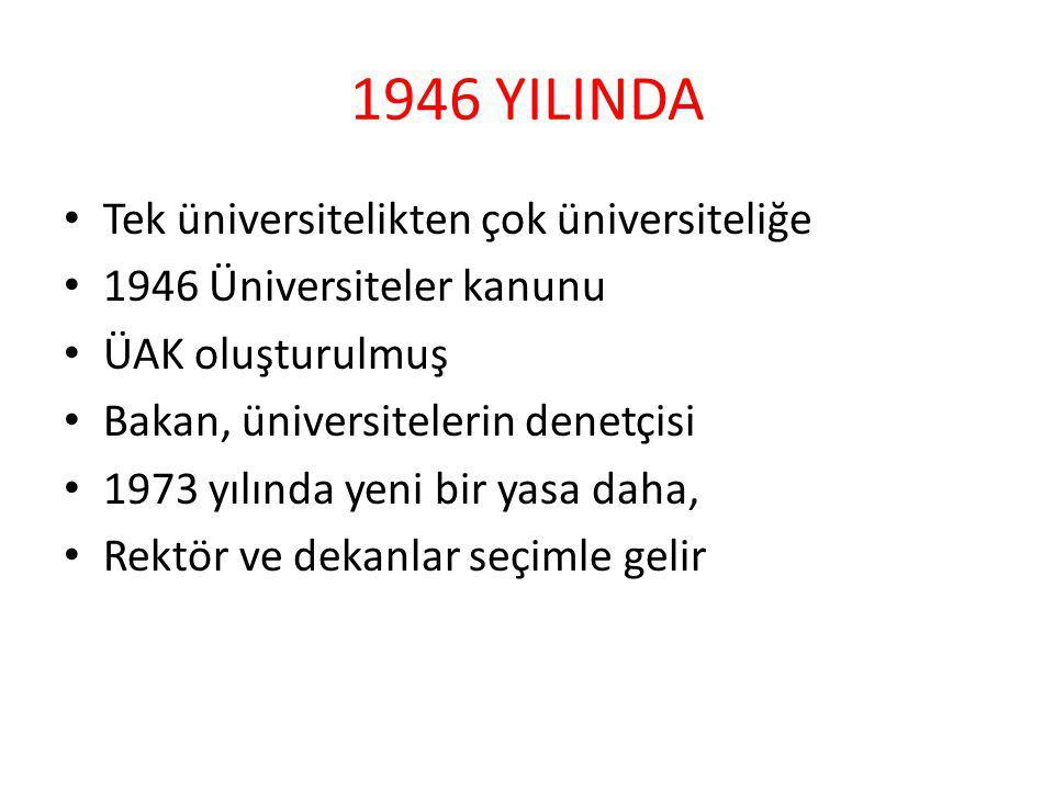 1946 YILINDA Tek üniversitelikten çok üniversiteliğe