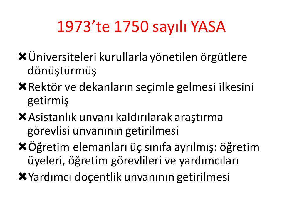 1973'te 1750 sayılı YASA Üniversiteleri kurullarla yönetilen örgütlere dönüştürmüş. Rektör ve dekanların seçimle gelmesi ilkesini getirmiş.