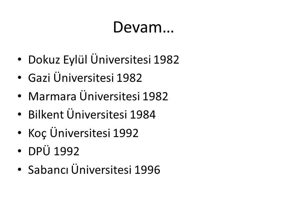 Devam… Dokuz Eylül Üniversitesi 1982 Gazi Üniversitesi 1982