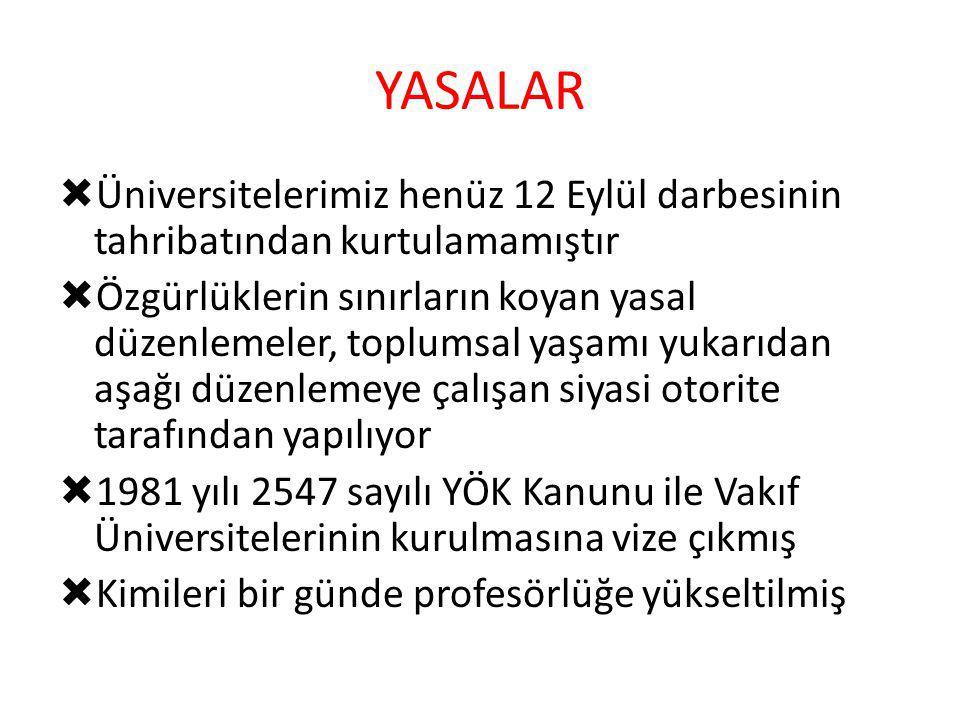 YASALAR Üniversitelerimiz henüz 12 Eylül darbesinin tahribatından kurtulamamıştır.