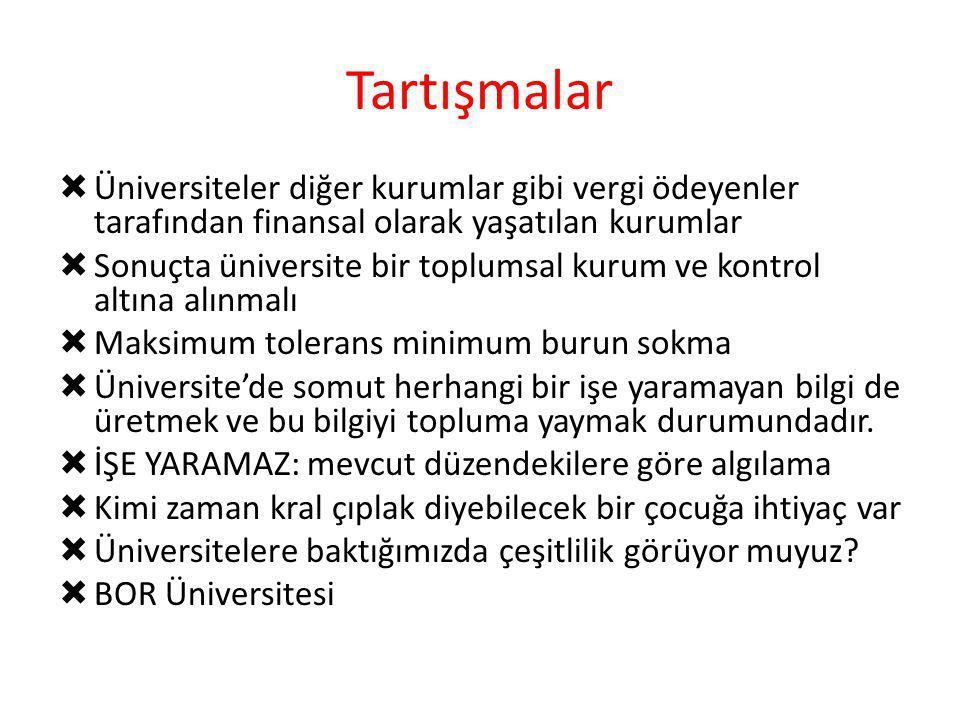 Tartışmalar Üniversiteler diğer kurumlar gibi vergi ödeyenler tarafından finansal olarak yaşatılan kurumlar.