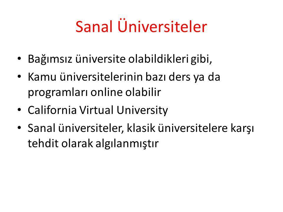Sanal Üniversiteler Bağımsız üniversite olabildikleri gibi,