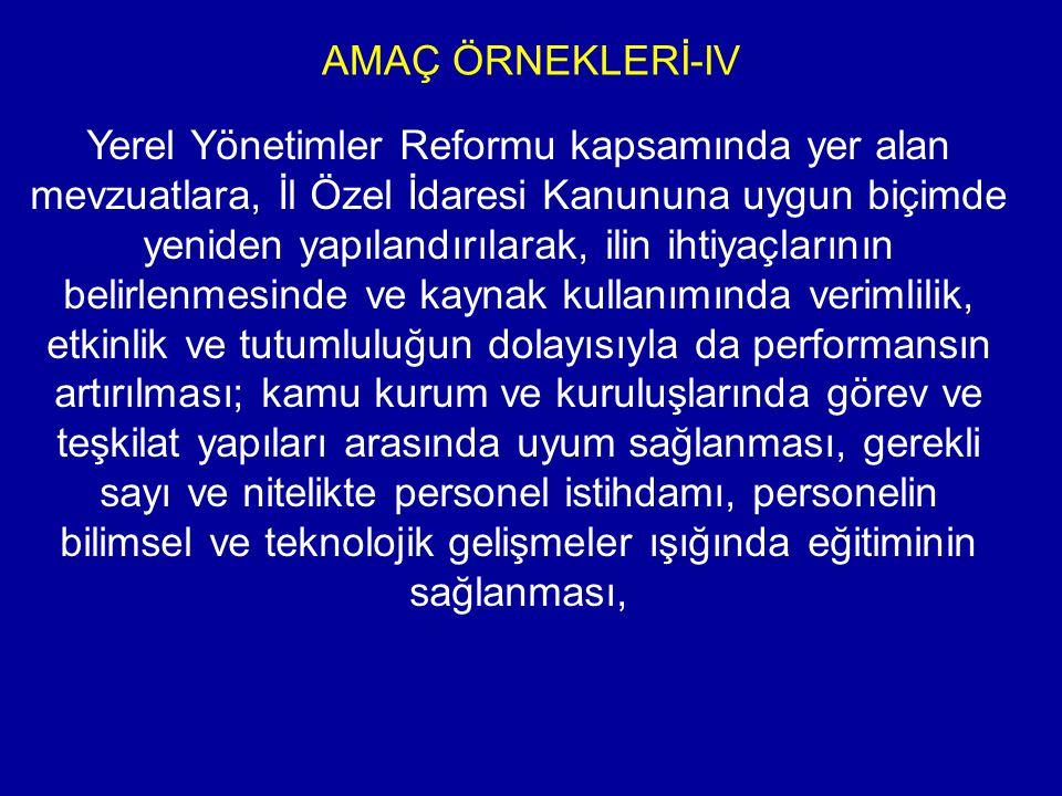 AMAÇ ÖRNEKLERİ-IV