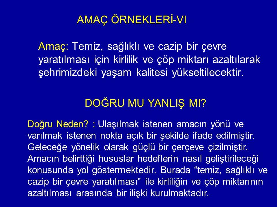 AMAÇ ÖRNEKLERİ-VI
