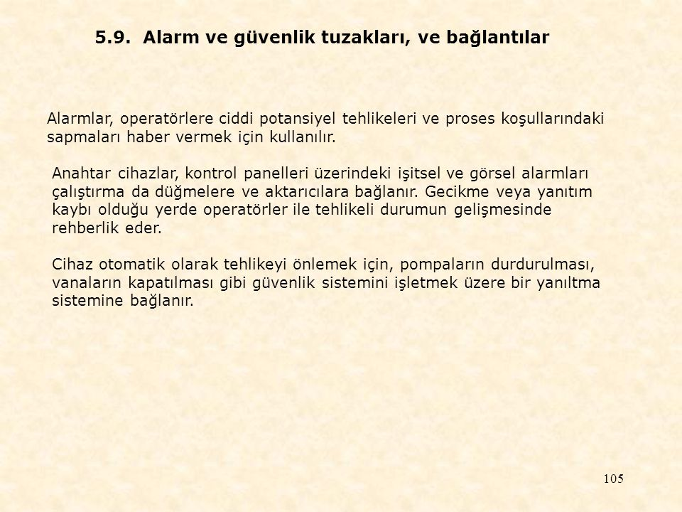 5.9. Alarm ve güvenlik tuzakları, ve bağlantılar