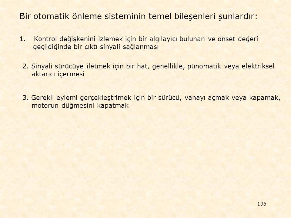 Bir otomatik önleme sisteminin temel bileşenleri şunlardır:
