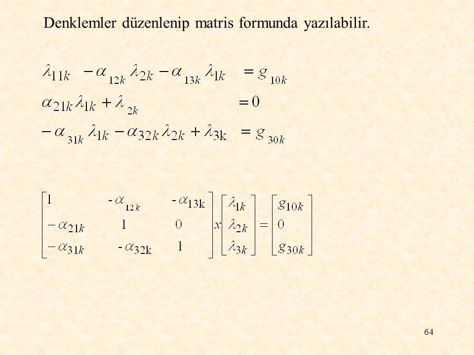 Denklemler düzenlenip matris formunda yazılabilir.