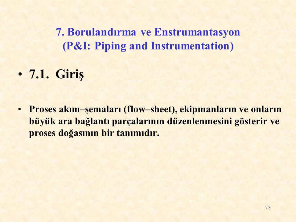 7. Borulandırma ve Enstrumantasyon (P&I: Piping and Instrumentation)