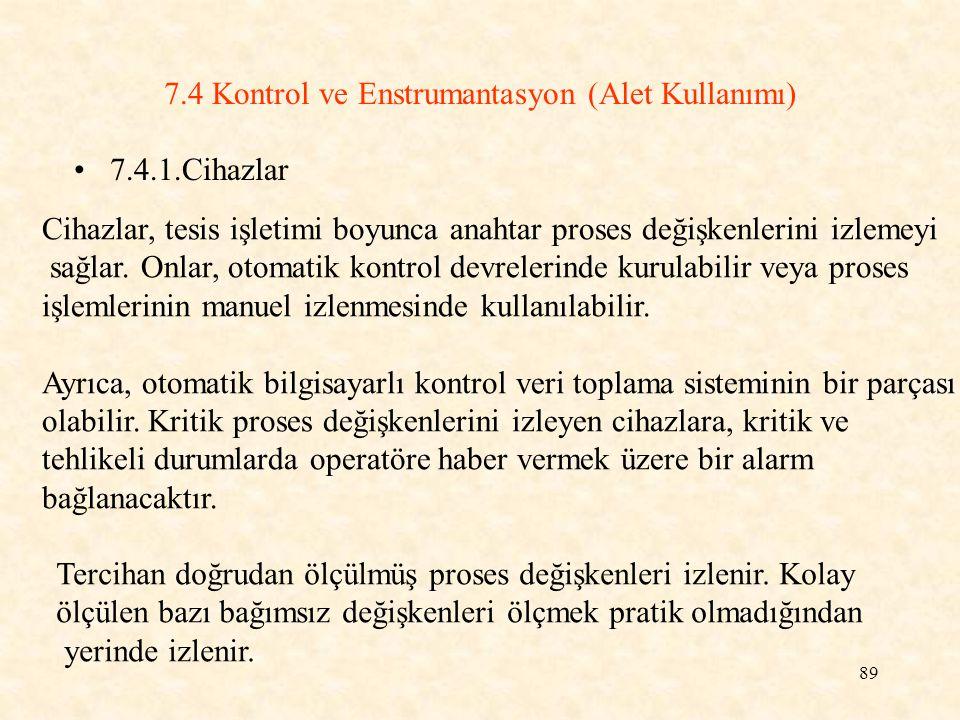 7.4 Kontrol ve Enstrumantasyon (Alet Kullanımı)