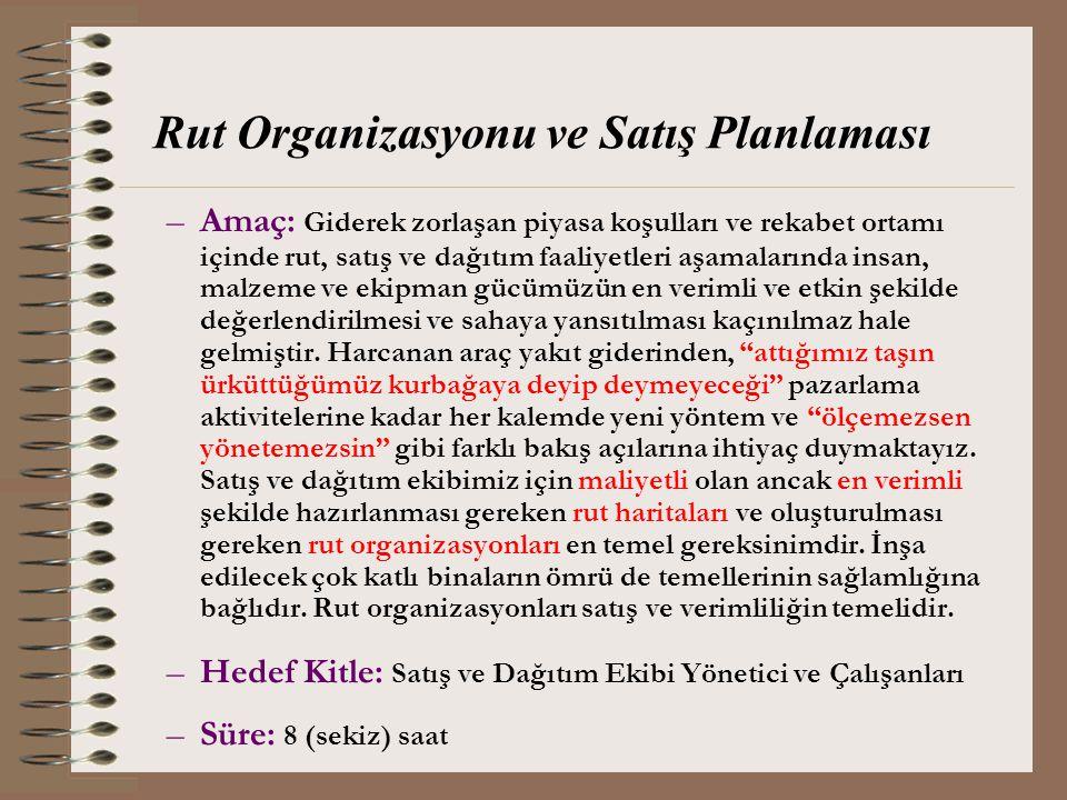 Rut Organizasyonu ve Satış Planlaması
