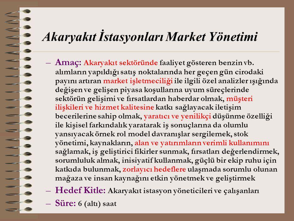 Akaryakıt İstasyonları Market Yönetimi