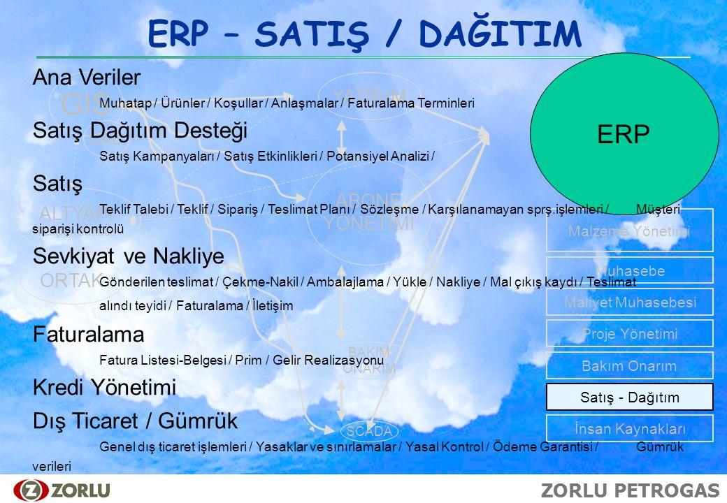 ERP – SATIŞ / DAĞITIM GIS ERP Ana Veriler Satış Dağıtım Desteği Satış