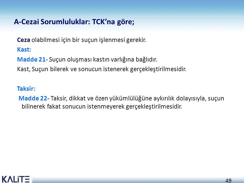 A-Cezai Sorumluluklar: TCK'na göre;