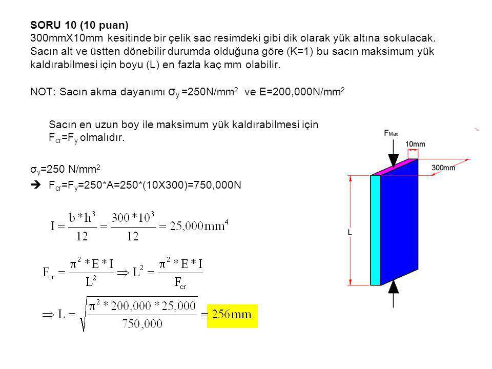 SORU 10 (10 puan) 300mmX10mm kesitinde bir çelik sac resimdeki gibi dik olarak yük altına sokulacak. Sacın alt ve üstten dönebilir durumda olduğuna göre (K=1) bu sacın maksimum yük kaldırabilmesi için boyu (L) en fazla kaç mm olabilir. NOT: Sacın akma dayanımı σy =250N/mm2 ve E=200,000N/mm2