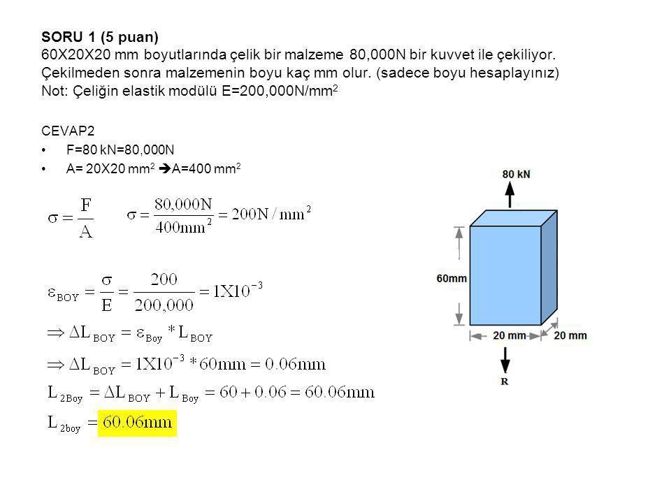 SORU 1 (5 puan) 60X20X20 mm boyutlarında çelik bir malzeme 80,000N bir kuvvet ile çekiliyor. Çekilmeden sonra malzemenin boyu kaç mm olur. (sadece boyu hesaplayınız) Not: Çeliğin elastik modülü E=200,000N/mm2