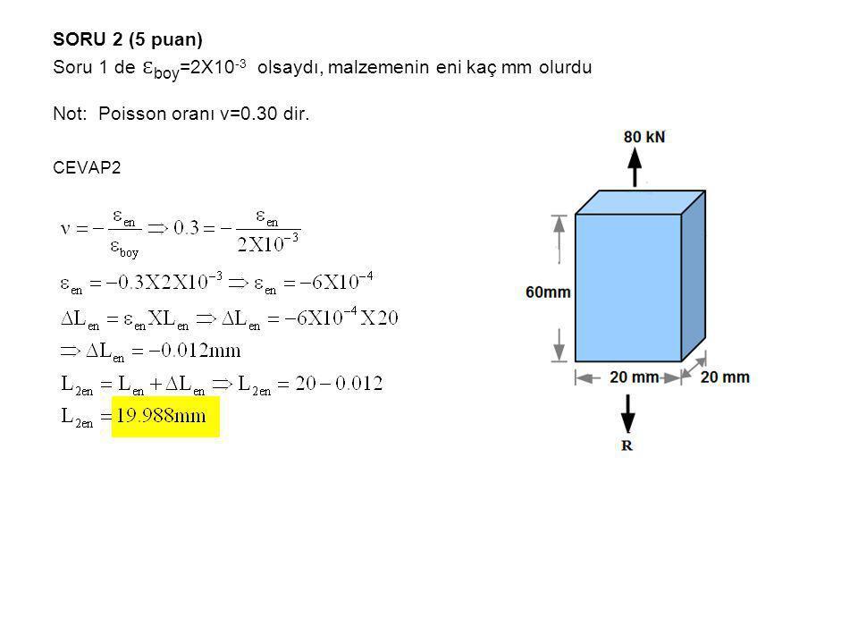 SORU 2 (5 puan) Soru 1 de ɛboy=2X10-3 olsaydı, malzemenin eni kaç mm olurdu Not: Poisson oranı ν=0.30 dir.
