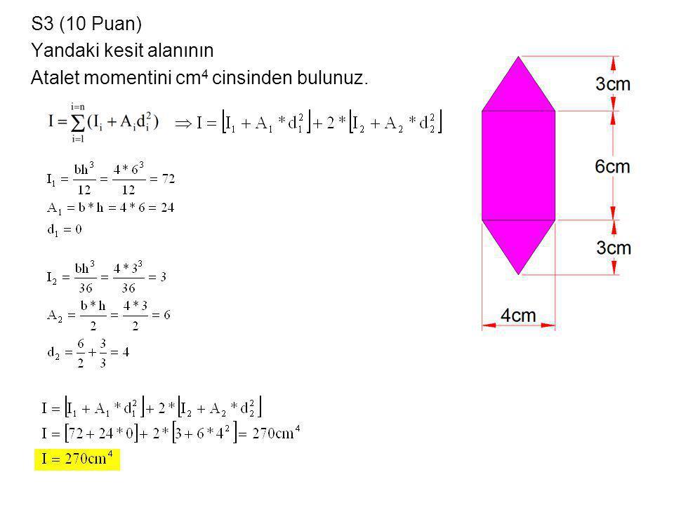 S3 (10 Puan) Yandaki kesit alanının Atalet momentini cm4 cinsinden bulunuz.
