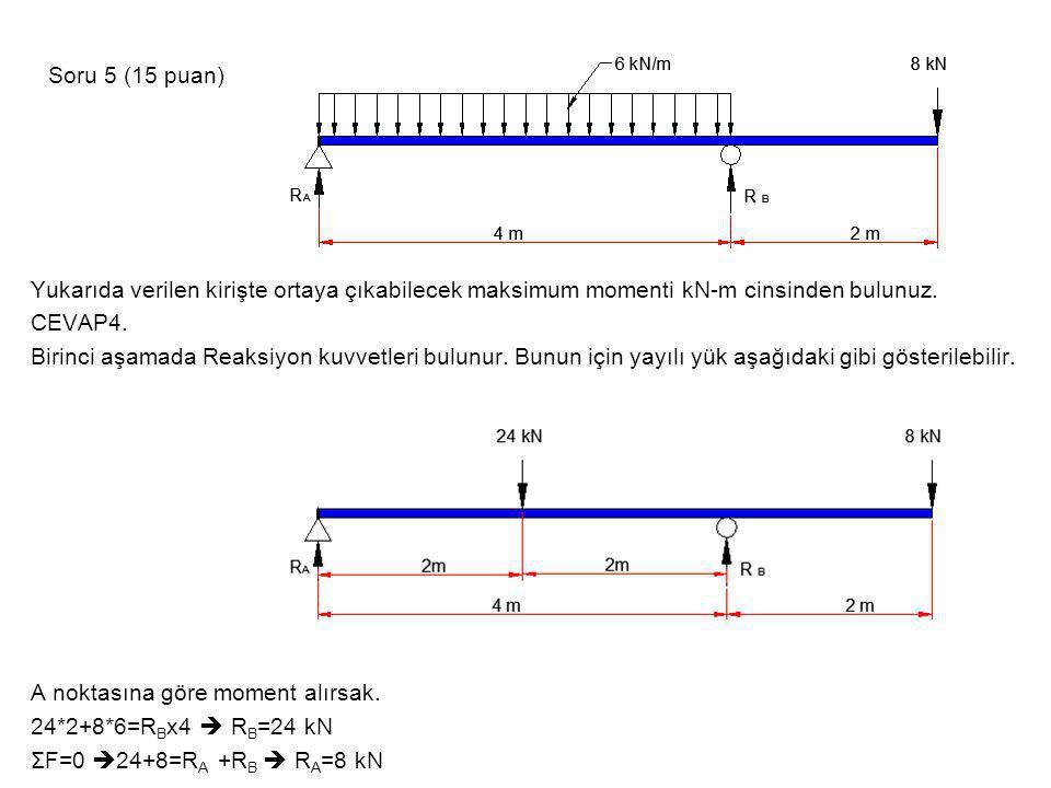 Soru 5 (15 puan) Yukarıda verilen kirişte ortaya çıkabilecek maksimum momenti kN-m cinsinden bulunuz.