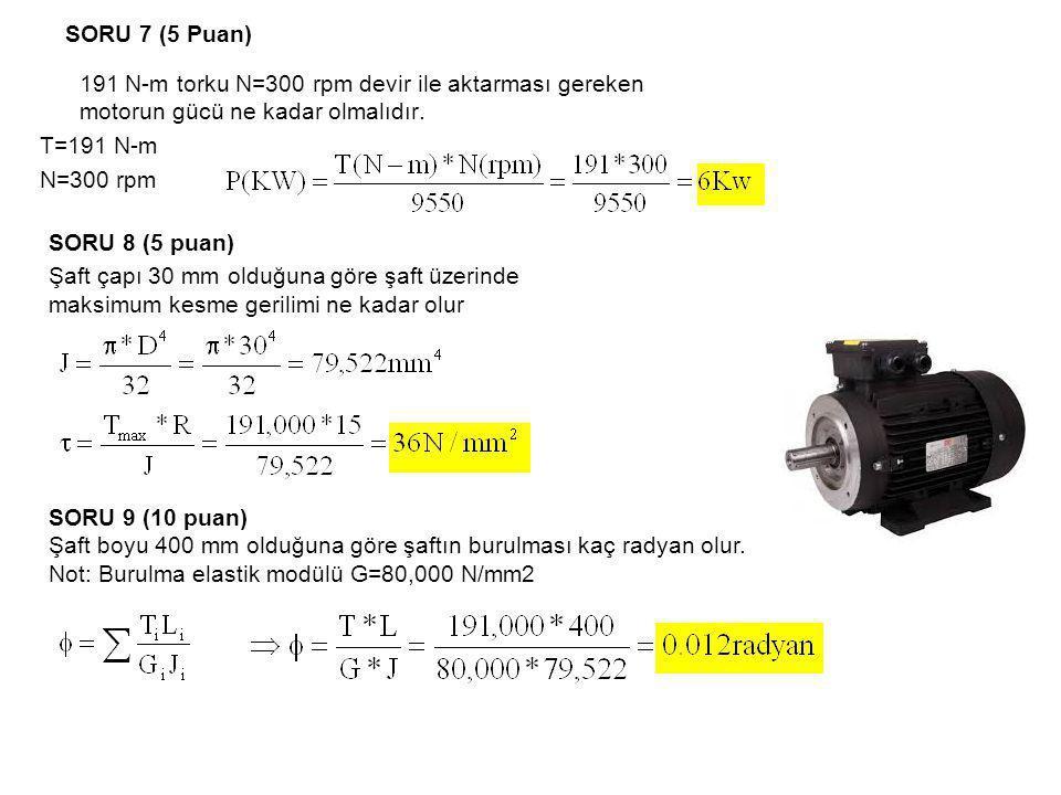 SORU 7 (5 Puan) 191 N-m torku N=300 rpm devir ile aktarması gereken motorun gücü ne kadar olmalıdır.